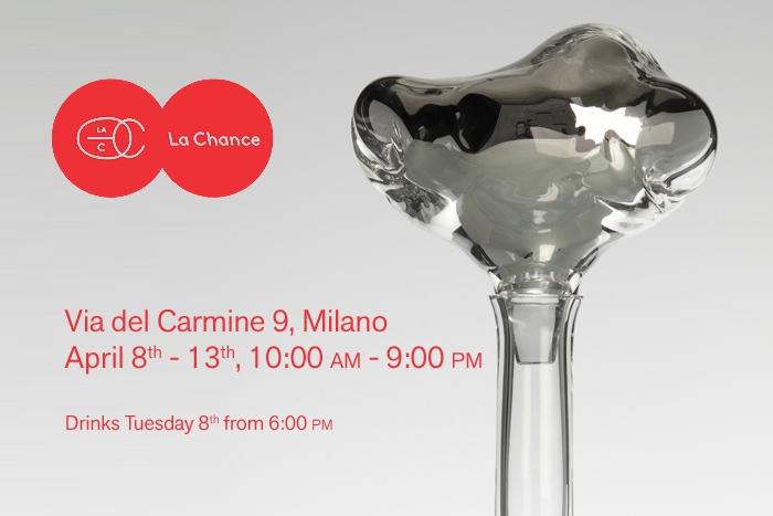 V8designers LA CHANCE - Carafe Novy Bor pour La Chance, Milan Design Week 2014.