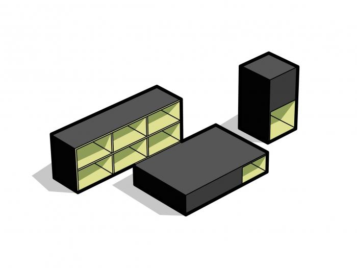 V8designers dancefloor - dancefloor table basse guéridon et étagère  sapin et caoutchouc